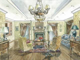 Загородный дом в Английском стиле.: Гостиная в . Автор – Архитектурно-дизайнерская компания Сергея Саргина