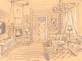 Загородный дом в поселке «Антоновка».: Гостиная в . Автор – Архитектурно-дизайнерская компания Сергея Саргина
