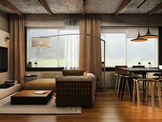 Salones de estilo industrial de he.d group Industrial Madera Acabado en madera