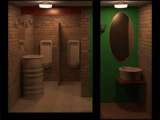 Banheiro Masculino de Restaurante: Espaços gastronômicos  por Henrique Thomaz Arquitetura e Interiores,Rústico