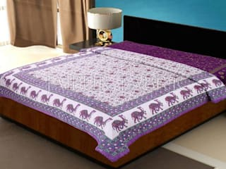 Purple Rajasthani Camel Border Flower Print Cotton AC Double Bed Quilt:   by Jaipur Fabric