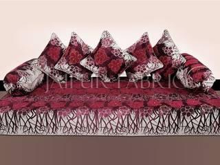 Magenta Color Velvet Floral Design Diwan Set:   by Jaipur Fabric