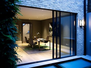 The Office from the back garden at Bedford Gardens House. :  Study/office by Nash Baker Architects Ltd