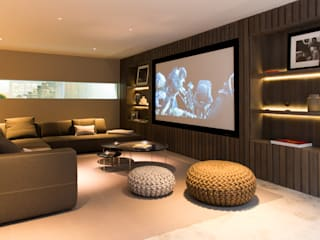 ​Home cinema and sitting area at Bedford Gardens House.:  Media room by Nash Baker Architects Ltd