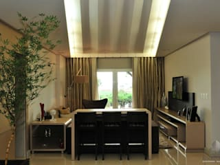 Residência Unifamiliar Entre-Ijuís -RS / Brasil: Salas de estar  por Rockenbach Arquitetos Associados,