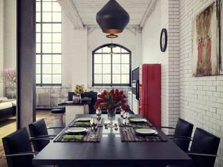 Ruang Makan Gaya Industrial Oleh RIP3D ARCHVIZ Industrial