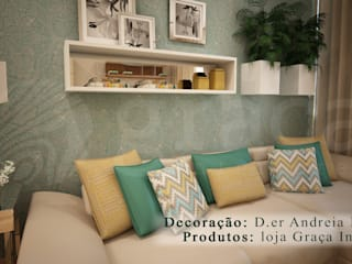 Projecto de Decoração sala by Andreia Louraço Design e Interiores: Salas de estar  por Andreia Louraço - Designer de Interiores (Contacto: atelier.andreialouraco@gmail.com)