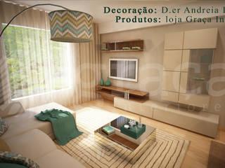 Andreia Louraço - Designer de Interiores (Email: andreialouraco@gmail.com) Salas de estilo moderno Beige