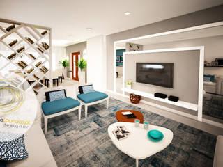 Sala azul: Salas de estar  por Andreia Louraço - Designer de Interiores (Contacto: atelier.andreialouraco@gmail.com)