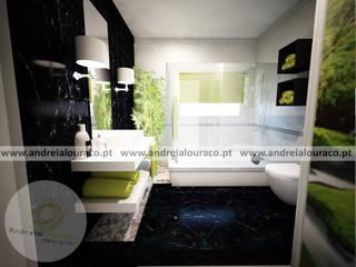 Projecto de Decoração de Wc by Andreia Louraço Design e Interiores: Casas de banho  por Andreia Louraço - Designer de Interiores (Contacto: atelier.andreialouraco@gmail.com)