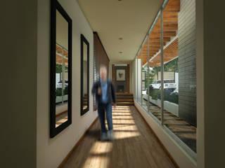 Hall alcoba huespedes Pasillos, vestíbulos y escaleras modernos de Gliptica Design Moderno Madera Acabado en madera