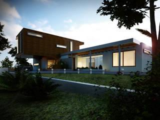 Fachada exterior - Vista desde jardín: Casas de estilo moderno por Gliptica Design