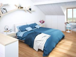 Ristrutturazione di un vecchio mulino a Jussy - camera da letto matrimoniale Camera da letto in stile scandinavo di Jonathan Sabbadini Scandinavo Legno Effetto legno