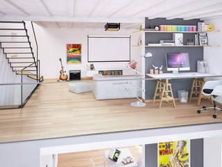 Ristrutturazione di un vecchio mulino a Jussy - ambiente duplex Soggiorno in stile scandinavo di Jonathan Sabbadini Scandinavo Legno Effetto legno
