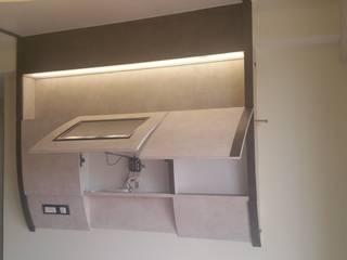 compact bar cum tv unit in bedroom Alaya D'decor Modern style bedroom Plywood Beige