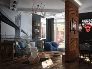 Квартира в стиле лофт, 70 м2: Гостиная в . Автор – De Steil