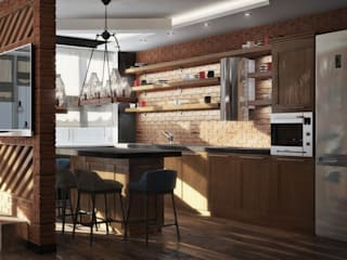 Квартира в стиле лофт, 70 м2: Кухни в . Автор – De Steil