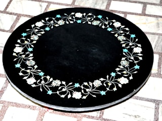 "28"" black marble semi precious stone inlay round table top: modern  by india stone,Modern"