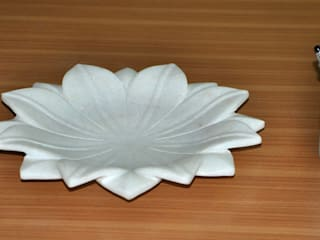"12"" White Marble Lotus Leaf  Coffee Table/Dinning Table Decorative Handmade Fruit Bowl: modern  by india stone,Modern"
