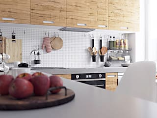 homify Cucina in stile scandinavo Legno Bianco