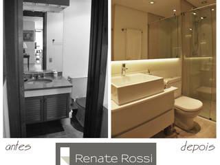 Banheiro Hospede:   por Renate Rossi Arquitetura + Interiores