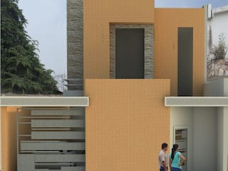 Fachada principal de vivienda unifamiliar FAMILIA SANABRIA: Casas de estilo  por 3R. ARQUITECTURA