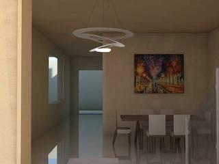 Sala comedor de vivienda unifamiliar FAMILIA SANABRIA: Salas / recibidores de estilo minimalista por 3R. ARQUITECTURA