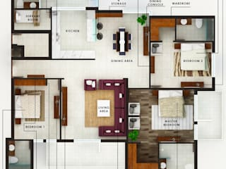 Singh Residence Modern walls & floors by Space Interface Modern
