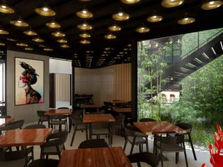 Restaurante Japão: Espaços de restauração  por DRCF Arquitectos,Industrial
