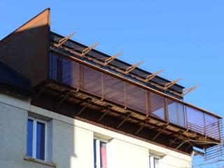EXTENSION VUE SUR LOIRE yann péron architecte Balcon, Veranda & Terrasse modernes Fer / Acier