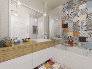 Łazienka z kolorowymi płytkami: styl , w kategorii Łazienka zaprojektowany przez Pracownia Aranżacji Wnętrz 'O-Kreślarnia'