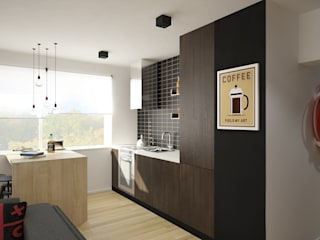 Nowoczesne mieszkanie z czerwienią: styl , w kategorii Kuchnia zaprojektowany przez Pracownia Aranżacji Wnętrz 'O-Kreślarnia'