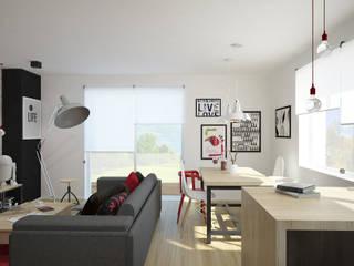 Nowoczesne mieszkanie z czerwienią: styl , w kategorii Salon zaprojektowany przez Pracownia Aranżacji Wnętrz 'O-Kreślarnia'