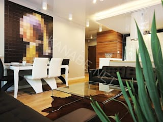 salon: styl , w kategorii Salon zaprojektowany przez KANABE