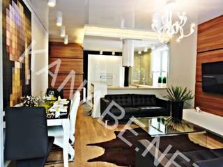 Drewno Beton Szkło: styl , w kategorii Salon zaprojektowany przez KANABE,