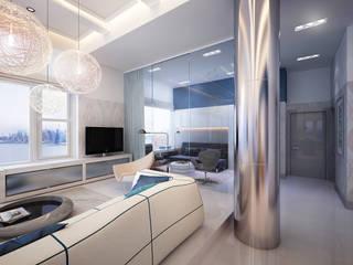 Hudson St. USA:  Living room by KAPRAN DESIGN  (interior workshop)