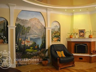 Дизайн дома 120 м2: Гостиная в . Автор – Contempodes