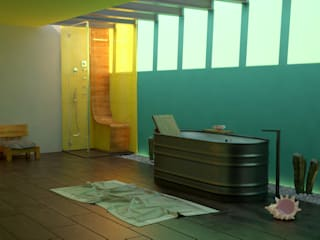 SIMPLE actitud Eclectic style bathrooms Wood Yellow