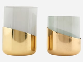 set of smoked glass and brass candleholders: minimalist  by Fate London, Minimalist