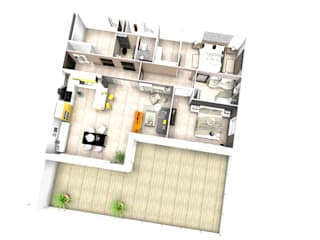 Vue en 3D de futur d'appartements :  de style  par D.DESIGN,