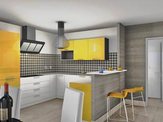 Vue en 3D de futur d'appartements : Cuisine de style  par D.DESIGN,