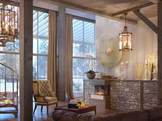 living room (winter): Гостиная в . Автор – Дмитрий Каючкин, Рустикальный