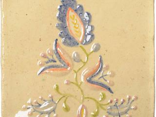 motyw haftu lipnickiego na ręcznie wykonanym kaflu ceramicznym. 20 cm x 20 cm, grubość 4-5 mm: styl , w kategorii  zaprojektowany przez unikatowe kafelki