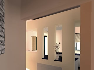 Accès vers le séjour: Couloir et hall d'entrée de style  par ARKENDAI
