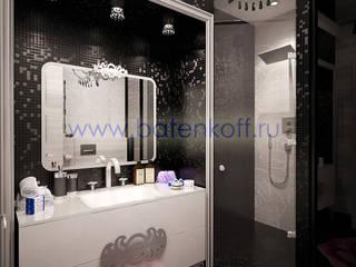 Дизайн проект ванной в черно белом цвете Ванная в классическом стиле от homify Классический Плитка