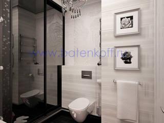 Дизайн проект ванной в черно белом цвете Ванная в классическом стиле от homify Классический Стекло