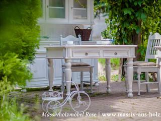 Massivholztisch im Landhausstil  | Weiß: skandinavische Küche von Massiv aus Holz
