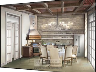 Country style kitchen by Olga's Studio Country