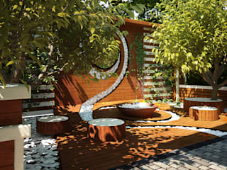 Мастерская ландшафта Дмитрия Бородавкина Minimalist style garden Wood Beige