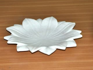 "9"" White Marble Lotus Leaf  Coffee Table/Dinning Table Decorative Handmade Fruit Bowl: modern  by india stone,Modern"